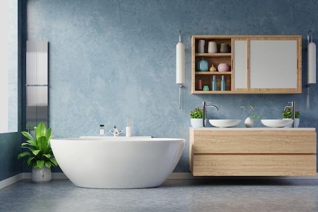 Современный дизайн интерьера ванной комнаты на синей стене. Premium Фотографии