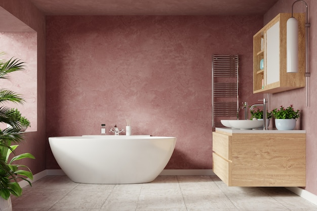 Современный дизайн интерьера ванной комнаты на стене темного цвета sonic. Premium Фотографии