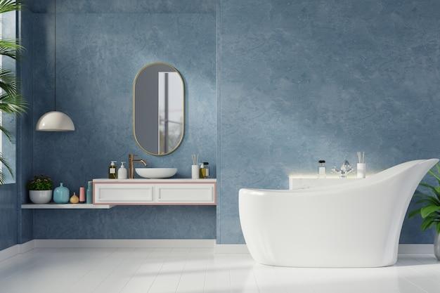 진한 파란색 벽에 현대적인 욕실 인테리어 프리미엄 사진