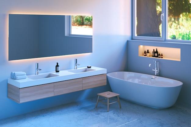 Modern bathroom interior with marble floor Premium Photo
