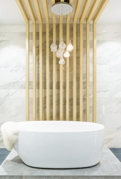 Modern bathroom interior with minimalistic shower and lighting Premium Photo