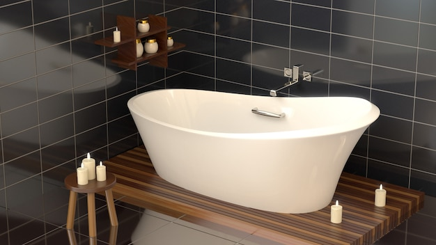 Modern bathroom with ceramic bath with candles. Premium Photo