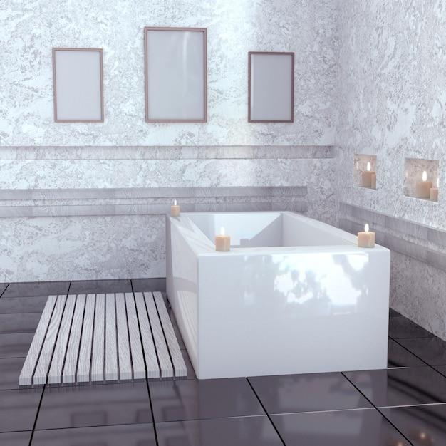 Modern bathroom with ceramic bath with candles. Premium Photo
