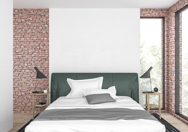 Современная спальня с глухой стеной Premium Фотографии