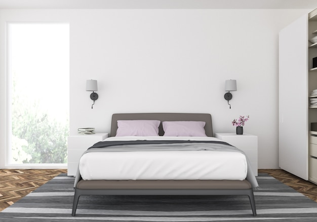 Premium Photo Modern Bedroom With Blank Wall
