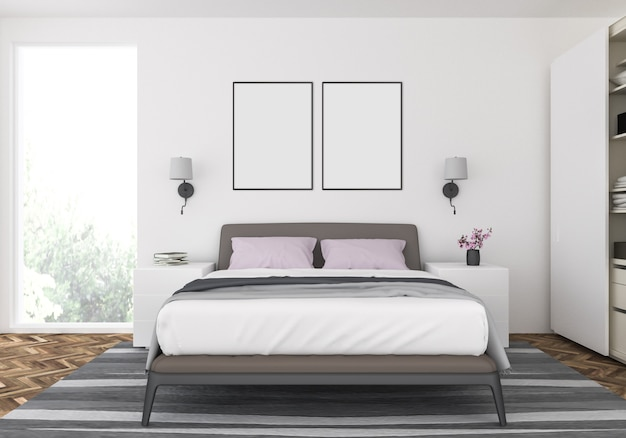 Premium Photo Modern Bedroom With Double Frames