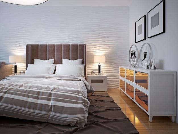 찬장 디자인의 현대적인 침실. 프리미엄 사진