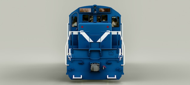 Modern blue diesel railway locomotive with great power and strength for moving long and heavy railroad train. 3d rendering. Premium Photo
