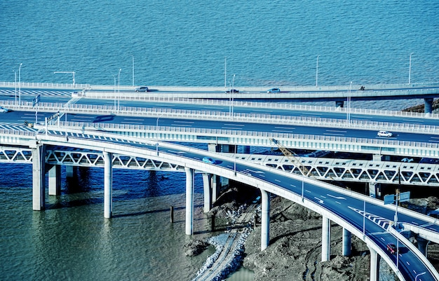 Modern bridge approach spans Premium Photo