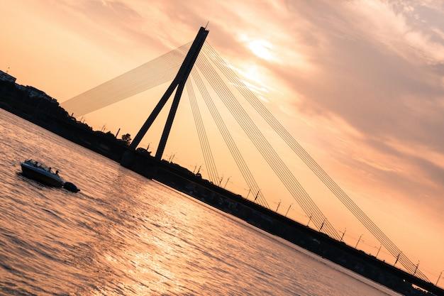 Modern bridge in riga Premium Photo