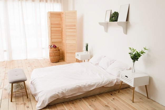 Modern bright minimalist bedroom Free Photo