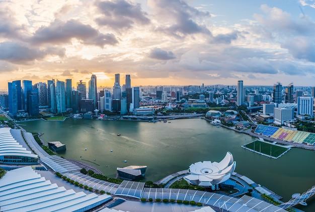 Modern buildings of singapore skyline landscape in business district Premium Photo