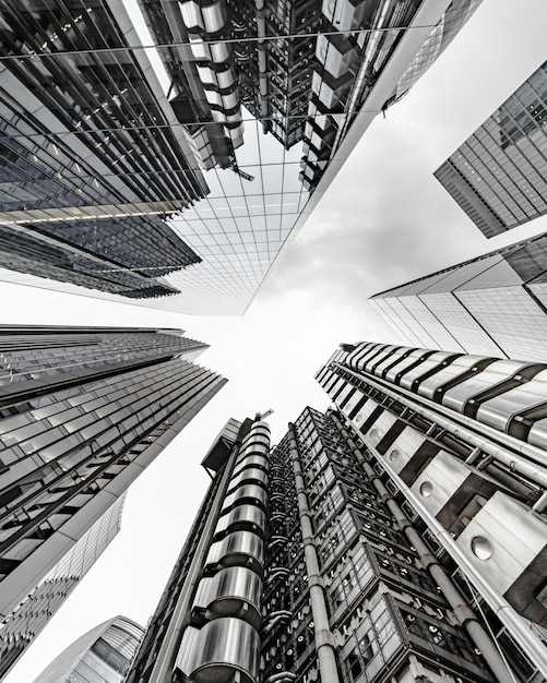 Modern business building scenery touching the sky Free Photo