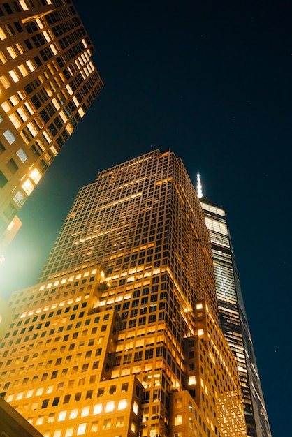 Modern business buildings at night Free Photo