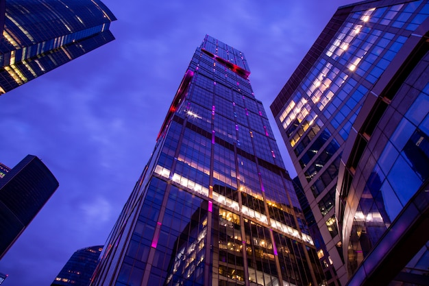 Modern business center in the night lights Premium Photo