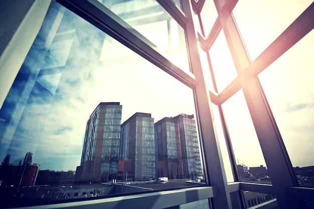 Modern business skyscrapers seen from the window. Free Photo