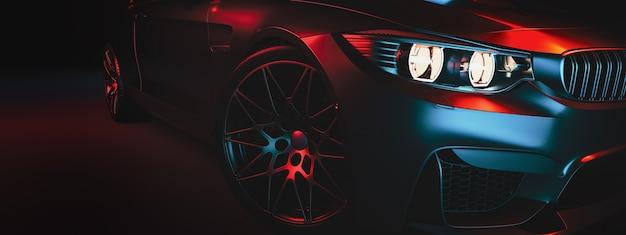 Современные машины в студийном зале. иллюстрация 3d и 3d представляют. Premium Фотографии