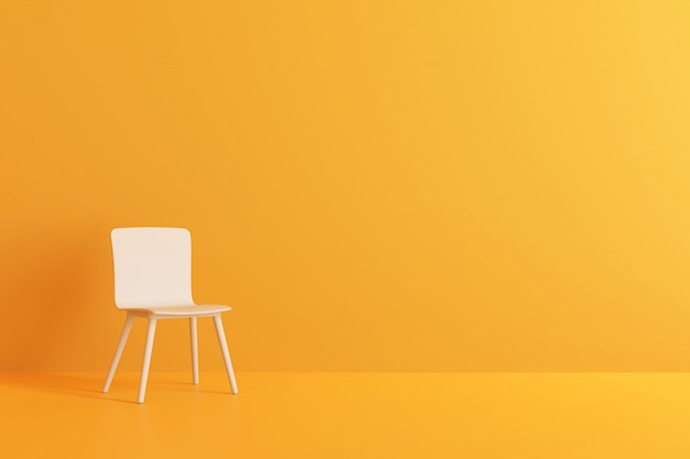 Modern chair in yellow living room. 3d render. Premium Photo