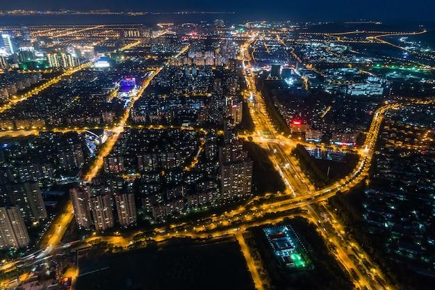 modern city panorama night view Free Photo