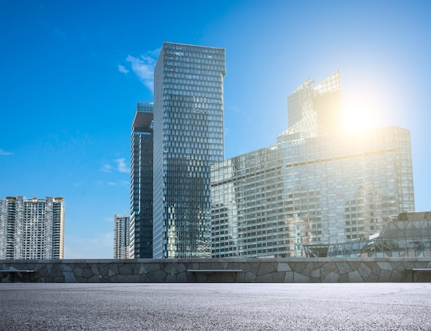 Modern city with glass skyscrapers Free Photo