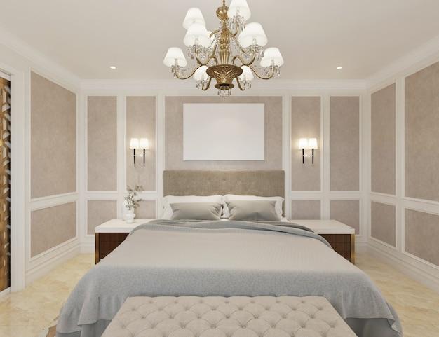 Credenza, Tv, 샹들리에 및 빈 캔버스와 현대 클래식 침실 프리미엄 사진