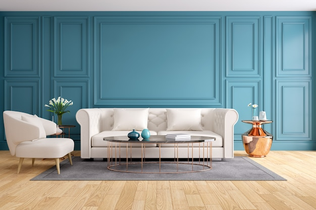 Modern and classic living room interior design, 3d rendering Premium Photo