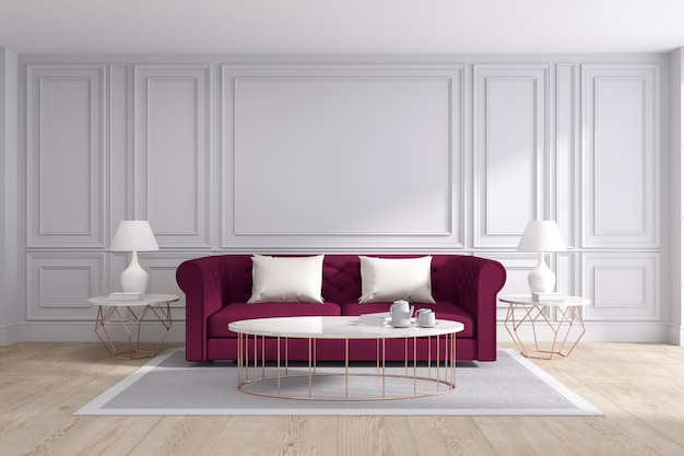 Premium Photo Modern And Classic Living Room Interior Design 3d Rendering