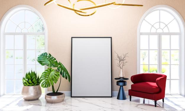 포스터 프레임, 3d 렌더링을 모의 현대 클래식 럭셔리 거실 인테리어 배경 프리미엄 사진