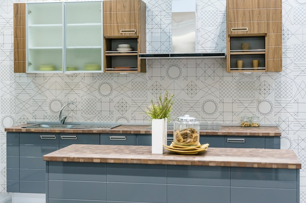 Modern, Clean Kitchen Interior With Stainless Steel Appliances In A Luxury  House Premium Photo