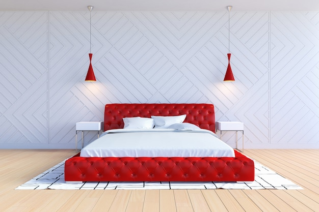 Modern contemporary bedroom interior in white and red color, 3d rendering Premium Photo