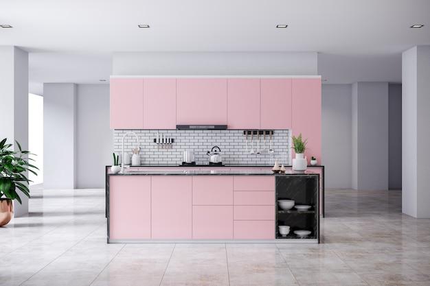 Modern contemporary pink kitchen Premium Photo