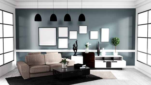 Modern Contemporary style, Living room interior design mock up. 3D ...
