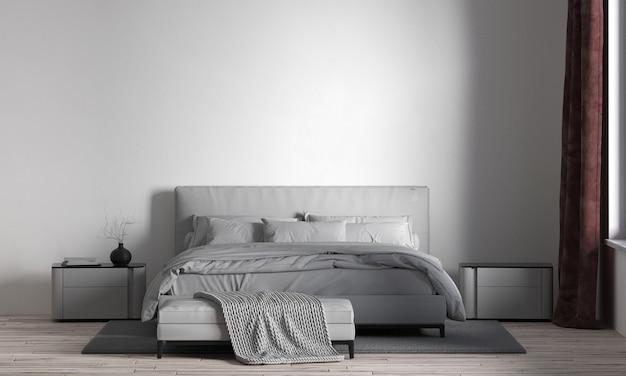 Modern cozy beautiful bedoom interior design and white wall Premium Photo