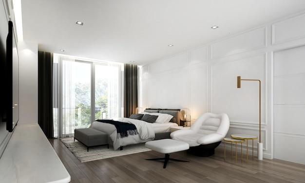 현대 아늑한 침실 인테리어 디자인과 복고풍 벽 프리미엄 사진