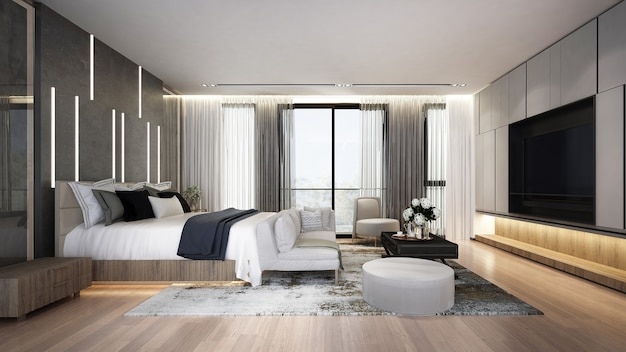 Modern cozy bedroom interior mock up, grey bed and living room on empty dark marble wall background, scandinavian style, 3d render Premium Photo