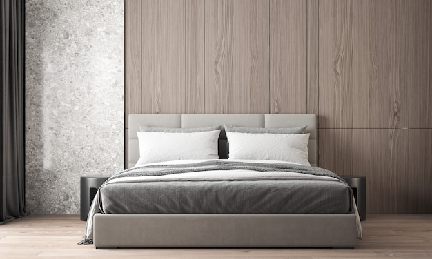 The modern cozy interior design of beautiful bedroom and wood and marble wall texture Premium Photo