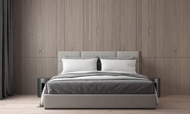 The modern cozy interior design of beautiful bedroom and wood wall texture Premium Photo