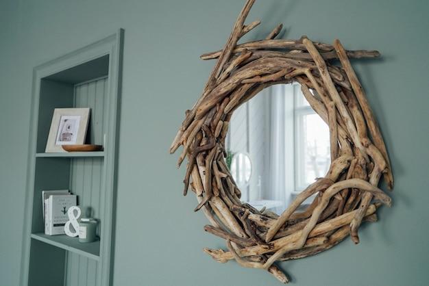 Modern cozy interior in mint color, details of eco decor Premium Photo