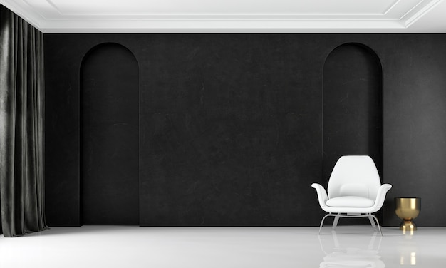 럭셔리 거실과 검은 벽 패턴 배경의 인테리어 디자인을 현대 아늑한 모의 프리미엄 사진