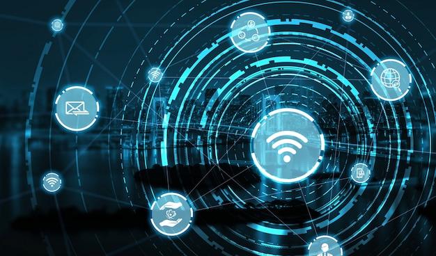 スマートシティにおける現代の創造的なコミュニケーションとインターネットネットワーク接続 Premium写真