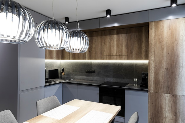 Modern design kitchen and dining room Free Photo