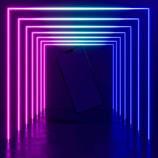 Modern device with neon light Free Photo