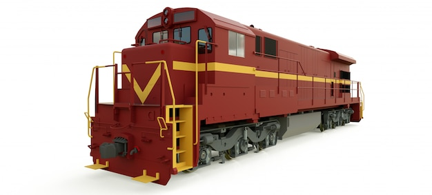 Modern diesel railway locomotive with great power and strength for moving long and heavy railroad train. Premium Photo