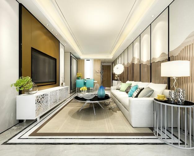 モダンなダイニングルームとキッチン、豪華な装飾が施されたリビングルーム Premium写真