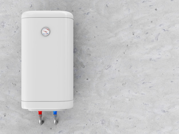 Modern electric water heater on the concrete wall Premium Photo