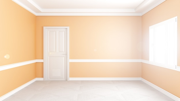 Modern empty living room interior, yellow wall mockup ...