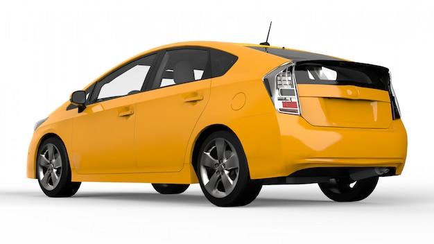 Modern family hybrid car yellow on white  with shadow on the ground Premium Photo