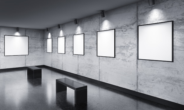 Modern gallery room with poster exhibition Premium Photo