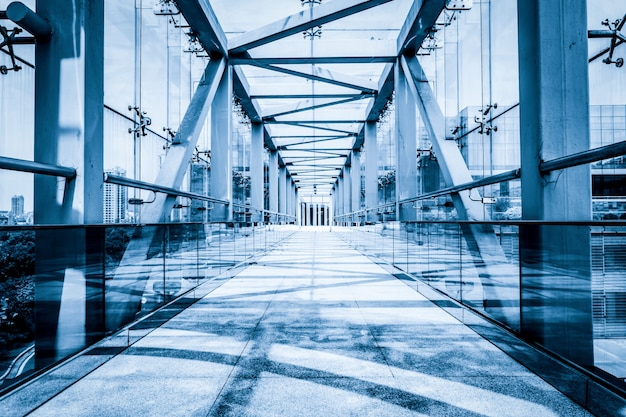 Modern glass bridge Free Photo