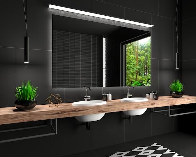 ロフトスタイルのモダンなガラス張りのシャワールーム Premium写真